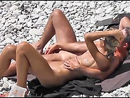 Two couples have sex on the stony beach and they don't know that voyeur films them 10