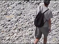 Two couples have sex on the stony beach and they don't know that voyeur films them 8