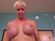 Blonde mature with big boobs and short hair creampied after awesome sex with agent 5
