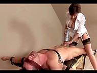 Mistress in unbuttoned blouse and black stockings is going to ride cock until blindfolded guy cums 5