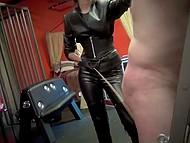 Slender brunette dominatrix punishes tied up mature guy using her favorite whip 4