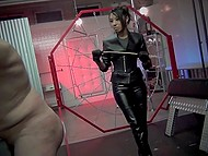 Slender brunette dominatrix punishes tied up mature guy using her favorite whip 9