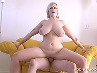 Older man fucks shaved pussy of blonde with massive natural tits and ejaculates on face