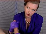 Hospital employee needs to analyze patient's sperm and she puts on purple gloves to extract some 7