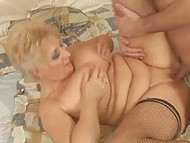 Mature Italian woman gets her clit licked and shaved pussy fucked by long-haired lover
