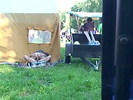 Random guy sees a couple who is going to have sex behind a tent and he turns on the camera right away 11