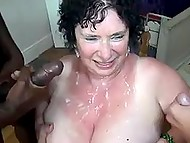 Black stud together with two friends penetrate fatty BBW granny in all her welcoming holes 11