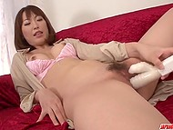 After drinking some wine, beautiful Japanese housewife is in mood to relax with various sex toys 7