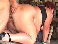 BBW with nice titties agrees to give deepthroat blowjob to young man if he is drilling her fat pussy