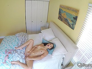 Babysitter Abella Danger enjoys pussy masturbation on the bed and doesn't know that cameras film her