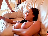 Whore with succulent hooters came to visit young couple so boy is going to fuck her together with his girlfriend