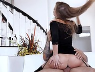 Busty beauty Britney Amber in black stockings practices sex with bald stallion on the couch 6
