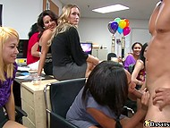 Boss lets office girls throw a party but he doesn't know that they will hire a stripper and suck his dick