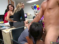 Boss lets office girls throw a party but he doesn't know that they will hire a stripper and suck his dick 8