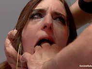 Overbearing guy makes girl with ball gag in mouth sit on Sybian and proceeds to dominate her 6