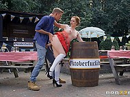 Waitress Ella Hughes helps guy climb out of the barrel and says that he won't go anywhere until fucks her