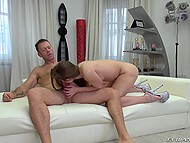 Young bitch with tight ass and strong legs practices blowjob in sixty-nine at audition