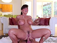 Masseur able to satisfy stunning MILF Lisa Ann by nicely drilling her ass on floor
