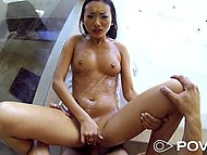 Hot sex in shower culminates for winsome Asian chick with cumshot on her tongue