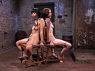 Master ties to chair Japanese Marica Hase and girl with ball gags in mouth making understand that BDSM is a tough thing