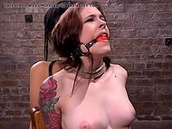 Master ties to chair Japanese Marica Hase and girl with ball gags in mouth making understand that BDSM is a tough thing 4