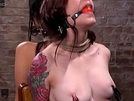 Master ties to chair Japanese Marica Hase and girl with ball gags in mouth making understand that BDSM is a tough thing 5