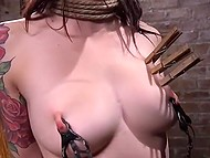 Master ties to chair Japanese Marica Hase and girl with ball gags in mouth making understand that BDSM is a tough thing 8