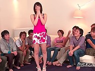 Japanese cutie chooses lucky guys among all men and gives them pleasurable blowjob 5