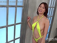 Attractive Japanese girl in sexy swimsuit gladdens guy with oral potential on camera 5
