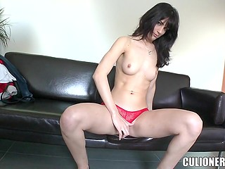 Porn casting with Uruguayan girl Carol Vega in red panties ends with nakedness and masturbation