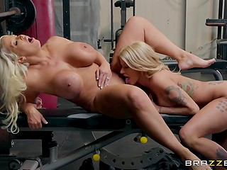 Luckily for full-bosomed Joslyn James and Alura Jenson, gym is empty and they can pamper pussies