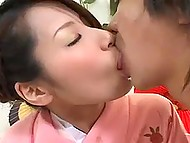Remarkable Japanese girl has sex with a guy who can't resist the temptation to cum in hairy pussy 4