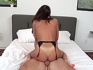 For efforts at work man is sexually rewarded by smoking-hot brunette wife August Ames
