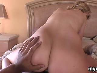 Girl rides boyfriend's cock in the bedroom and it seems that she isn't going to climb off it