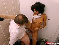 There is some time before departure so Ebony stewardess can have sex in the restroom
