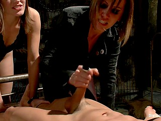 Slut and her henchwomen enjoy group male torment and make him cum with hands only