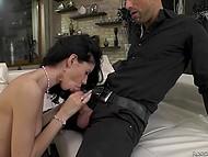 Handsome man anally penetrates skinny brunette Delia under control of her stepmom 5