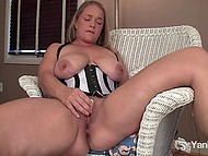 Kinky temptress with sexy natural knockers has vibrator for bald pussy that helps her cum