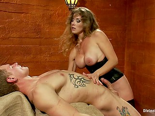 Pornstar with big breasts fucked by slave man but it seems like she is drilling him