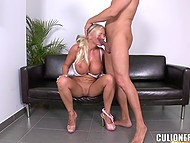 Housewife pink high heels recorded on camera the way she is having coition with bald lover 10