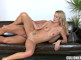 Long-legged blonde Erica Fontes and lucky porn agent have fantastic sex on sofa