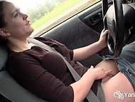 Guy dominates over female student driver and wants to see if she can't masturbate at full speed