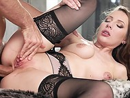 Girl's lingerie and stockings turn man on so much that he wants to thrust cock into her anus 9
