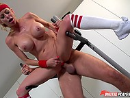 Nasty sex with trainer in empty gym drives blonde MILF Alexis Fawx to squirting orgasms 8
