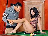 Tall Ebony stud and attractive brunette interrupt pool game to make love right on table 6