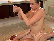 Chesty masseuse Tory Lane slides all over young client and even polishes his manhood 6