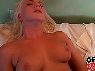Happy birthday for sexy blonde babe because cameraman gifts her great sex in bed