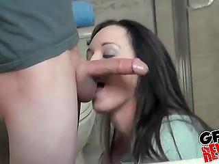 Guy brings camera in bathroom to film spontaneous sex with his sweet brunette GF
