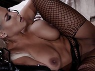 Sex of busty beauty Bridgette B in fishnet pantyhose and bald husband will include light domination 11