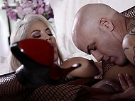 Sex of busty beauty Bridgette B in fishnet pantyhose and bald husband will include light domination 4